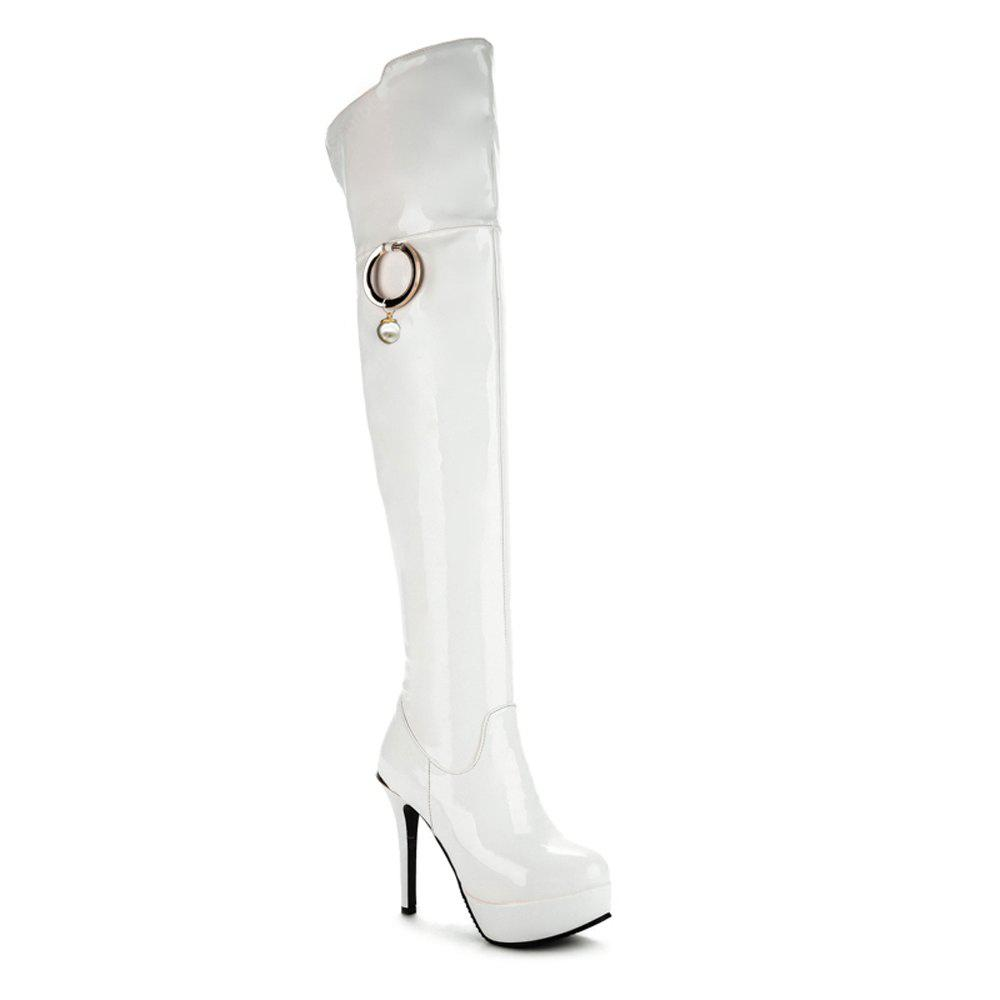 Ultra Fine High-Heeled Boots Knee With Round Black Red White