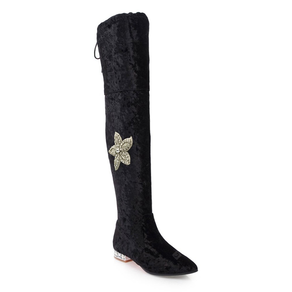 Diamond Flower Lace Zipper With Low Thick Thigh Boots Black Red Green White Wine