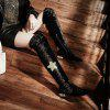 Diamond Flower Lace Zipper With Low Thick Thigh Boots Black Red Green White Wine - BLACK