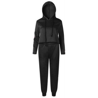 Buy BLACK M 2017 New Autumn Winter Splicing and Hooded Suit for $41.16 in GearBest store