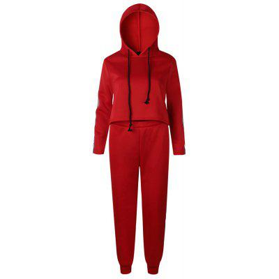 Buy RED XL 2017 New Autumn Winter Splicing and Hooded Suit for $41.16 in GearBest store