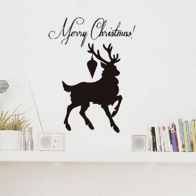 DSU Xmas Black Deer Happy New Year Home Decal Wall Sticker For Kids Room