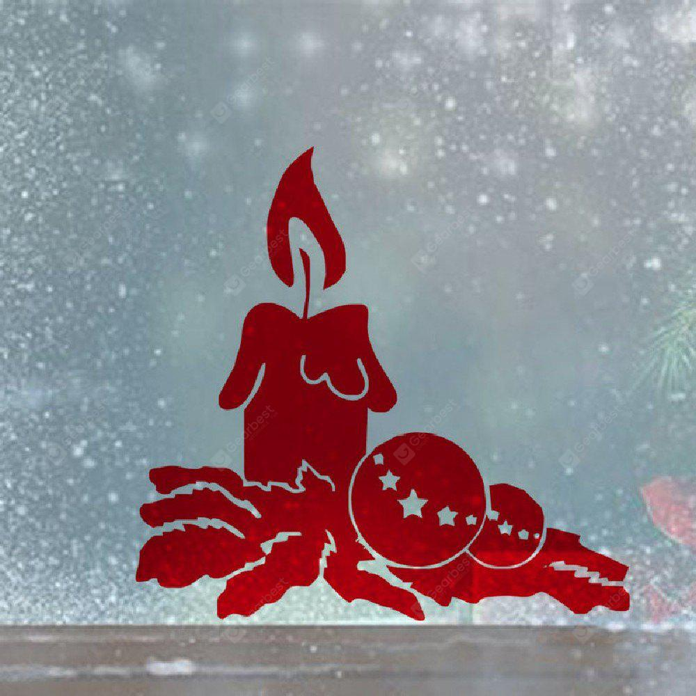 DSU Red Candle Mural Christmas Wall Sticker for Living Room Shop Window