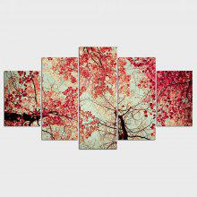 YSDAFEN Red Leaves Trees Wall Art Living Room Decoration Canvas Print 5 Plane