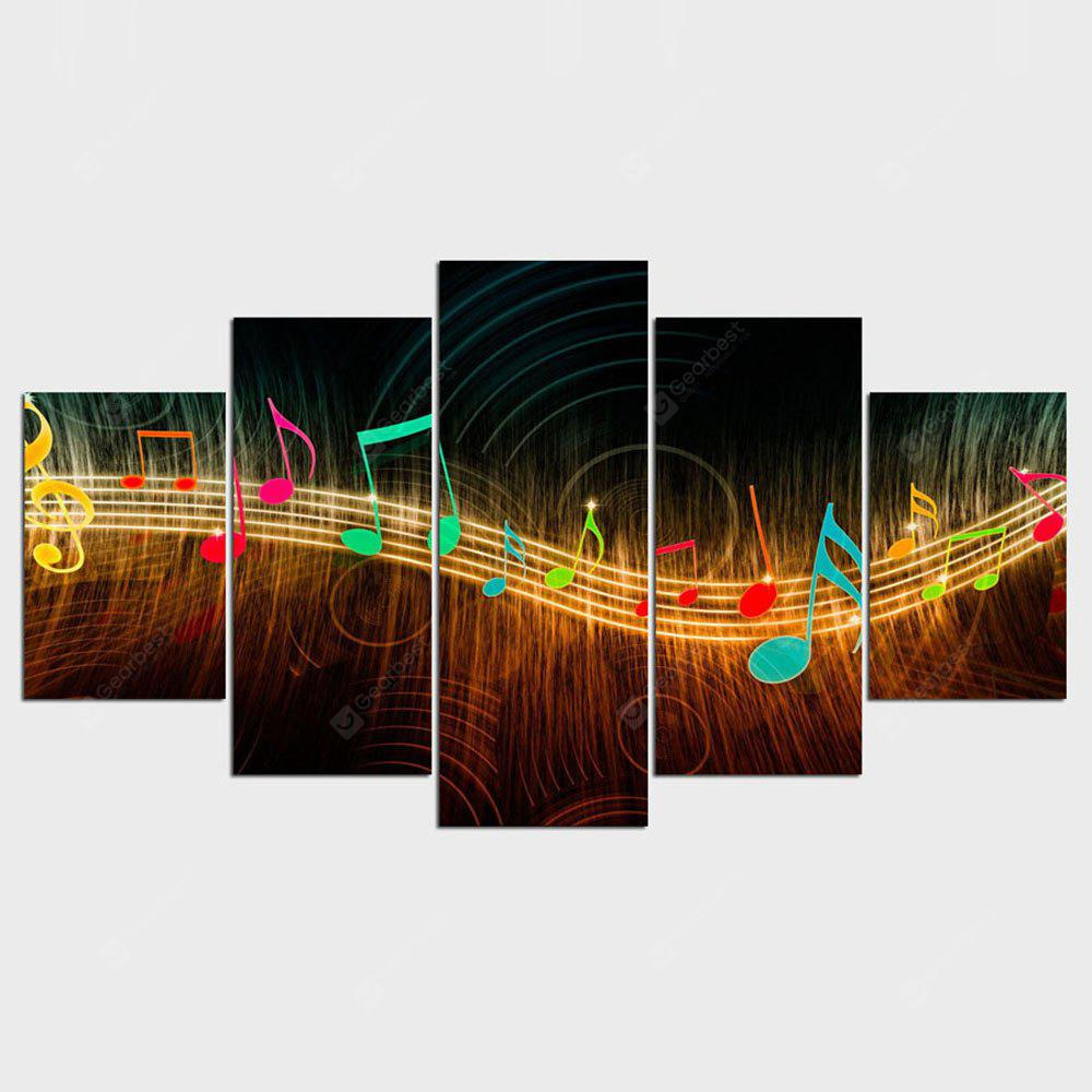 YSDAFE Resumen Música Notación Cuadros Home Decor 5 Panel Wall Art Paintings
