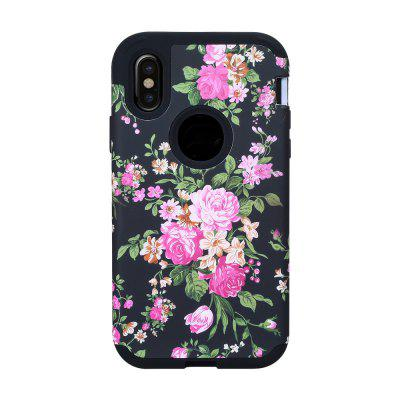 3 in 1 Hard PC with Soft Silicone Full Body Rose Design Phone Case for iPhone X
