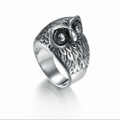 Buy New Men'S Vintage Owl Titanium Ring SILVER for $18.03 in GearBest store