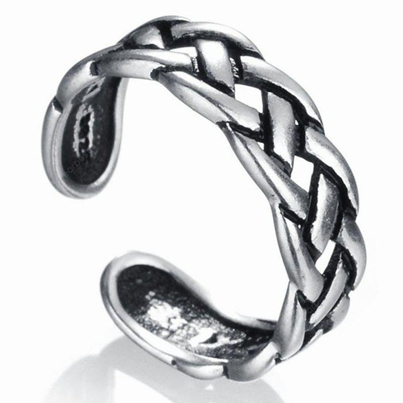 New Man Twist Chain Old Hollow Silver Open Ring SILVER