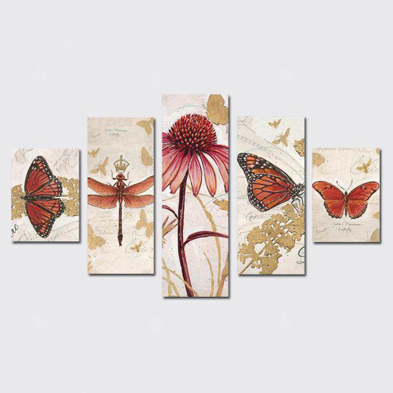 QiaoJiaoHuaYuan Frameless Canvas Five Even Sets of Butterflies Living Room Decorative Paintings