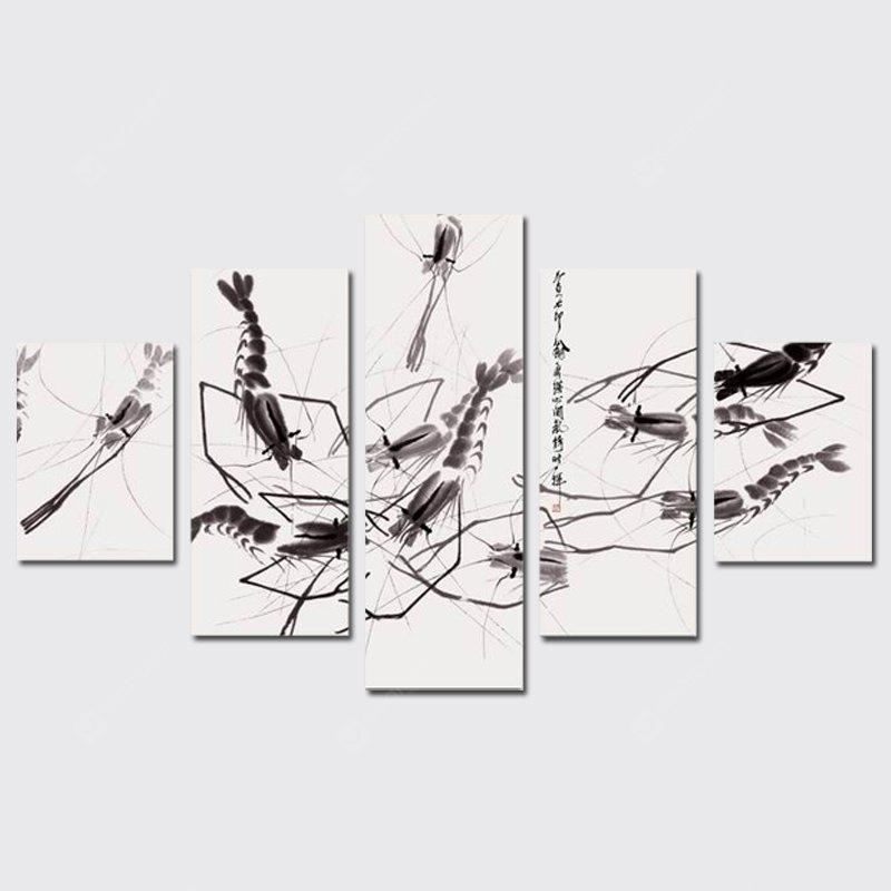 QiaoJiaHuaYuan Frameless Canvas Five Sets of Sets of Drawing Abstract ink Fish Shrimp  Micro Spray Decorative Print