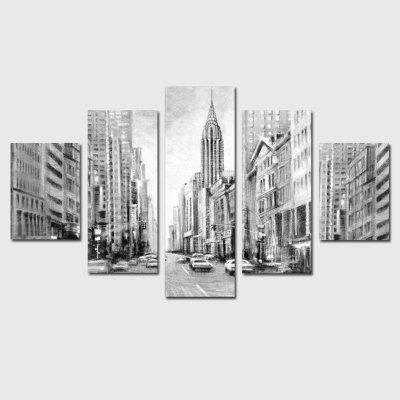 QiaoJiaHuaYuan Frameless Canvas Five Sets of Sets of Painting city Skyscrapers Building Decorative Print