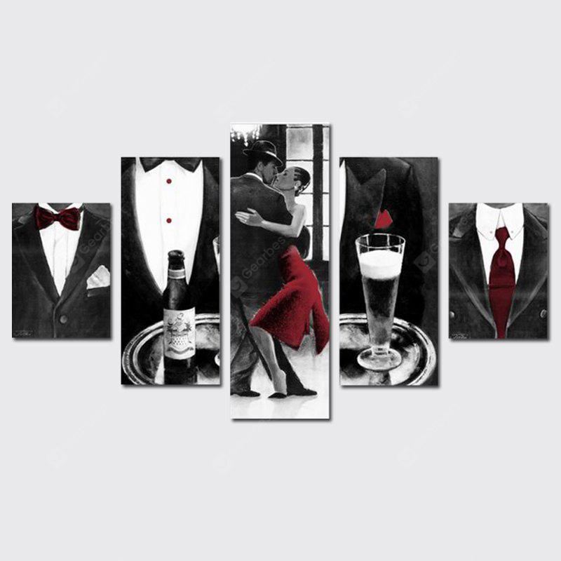 QiaoJiaHuaYuan Frameless Canvas Five Sets of Sets of Painting Couple Dance Black And White Red With Inkjet Decorative Pr