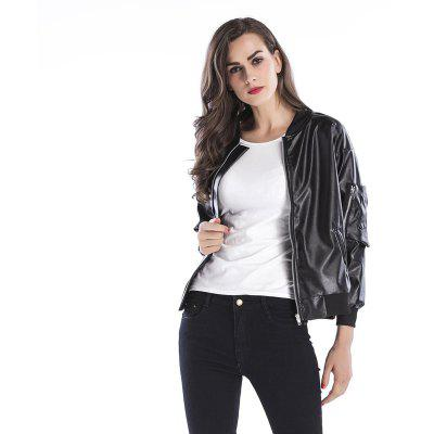 Women's Leather Jacket Solid Long Sleeve Zipper Loose Cool Leather Jacket