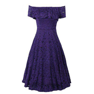 Off Shoulder Floral Lace Party Swing  Women Cascading Ruffle Lace Casual Formal A Line Dress