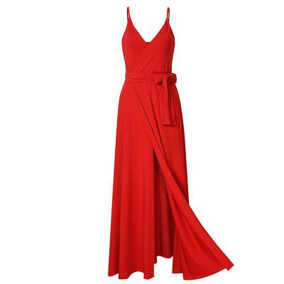Buy RED M New Velvet Long Evening Party Women Wrap Spaghetti Strap Sexy Ladies Backless Maxi Elegant Dress for $30.91 in GearBest store