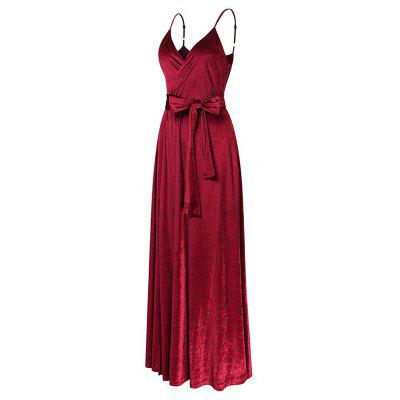 Buy WINE RED 2XL New Velvet Long Evening Party Women Wrap Spaghetti Strap Sexy Ladies Backless Maxi Elegant Dress for $30.91 in GearBest store