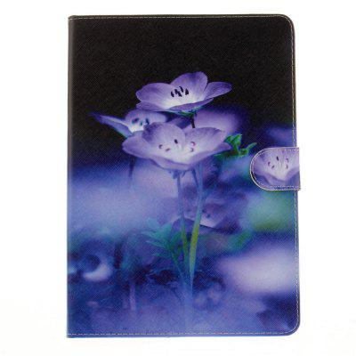 Blue Flowering PU+TPU Leather Wallet Cover Design with Stand and Card Slots Magnetic Closure Case for iPad Pro 10.5 Inch