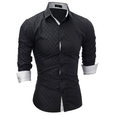 2017 Spring New Classic Lined Dark Lines Lingge Men'S Casual Long-Sleeved Shirt