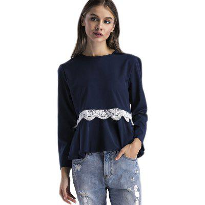 Women's Stylish Round Neck Lace Stitching Long-Sleeved T-Shirt