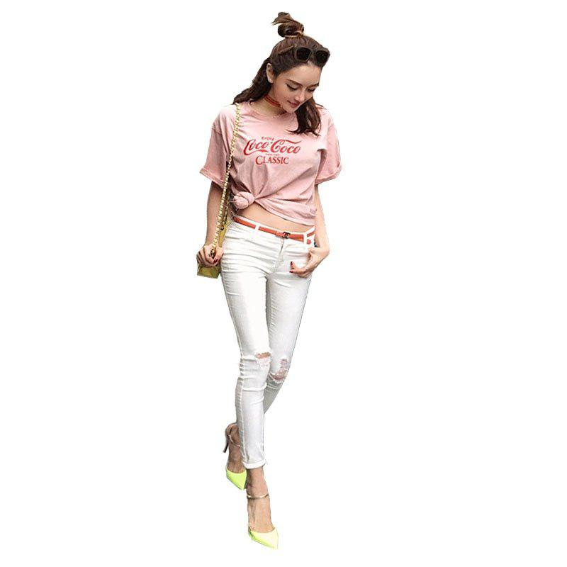 Trendy Pink Letter Casual T-Shirt