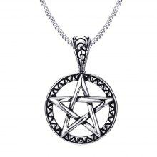 Stainless Steel Pentagram Round Cast Pendants Fashion Pop Punk Jewelry