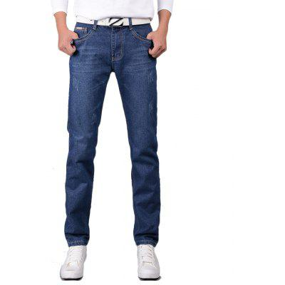 Men's Jeans Straight Mid Waisted Solid Color Denim Pants печки для пончиков