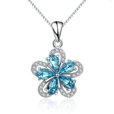 JAMOUR S925 Silver Inlaid Blue Crystal Three Dimensional Creative Plum Fashion Wild Ladies Hypoallergenic Pendant Necklace
