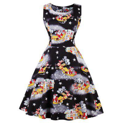 Women Pleated Black Print Dresses