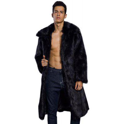 Black Men's Faux Fur Coats Long Sleeve Oversized Collar XL-$87.35 ...