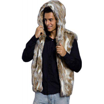 Men Vest Hooded Sleeveless Faux Fur Jacket