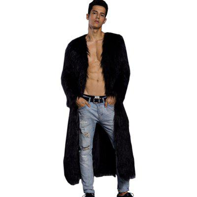 Hommes Faux Fur Trench Coats Long Sleeve