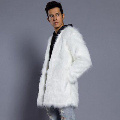 Faux Fur Coat Plus Size Turndown Collar Mid Length 2017 winter new clothes to overcome the coat of women in the long reed rabbit hair fur fur coat fox raccoon fur collar