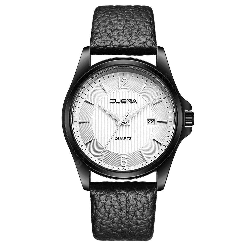CUENA 6611P Fashion Casual Simple Leather Strap Men's Quartz Wristwatch