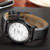 CUENA 6611P Fashion Casual Simple Leather Strap Men's Quartz Wristwatch - BLACK BAND WHITE DIAL BLACK CASE