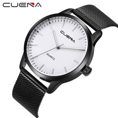 CUENA 6608G Men's Fashion Trendy Stainless Steel Grid Band Quartz Wristwatch forex b016 6608