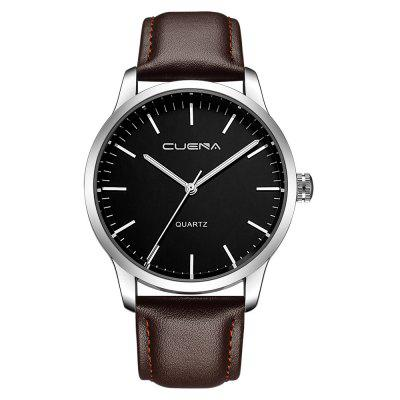 CUENA 6608P Men's Fashion Trendy Leather Quartz Wristwatch