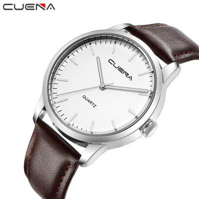 CUENA 6608P Men's Fashion Trendy Leather Quartz Wristwatch forex b016 6608