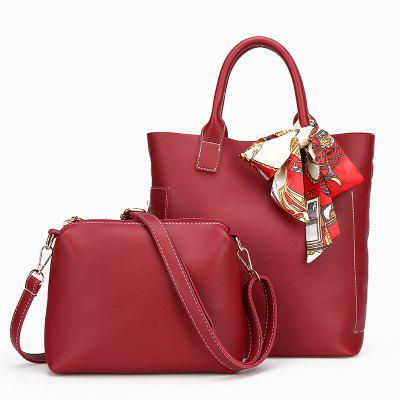 Buy RED VERTICAL Two-piece Pure Color Fashion Car Suture Silk Scarves Bucket Bag for $25.99 in GearBest store
