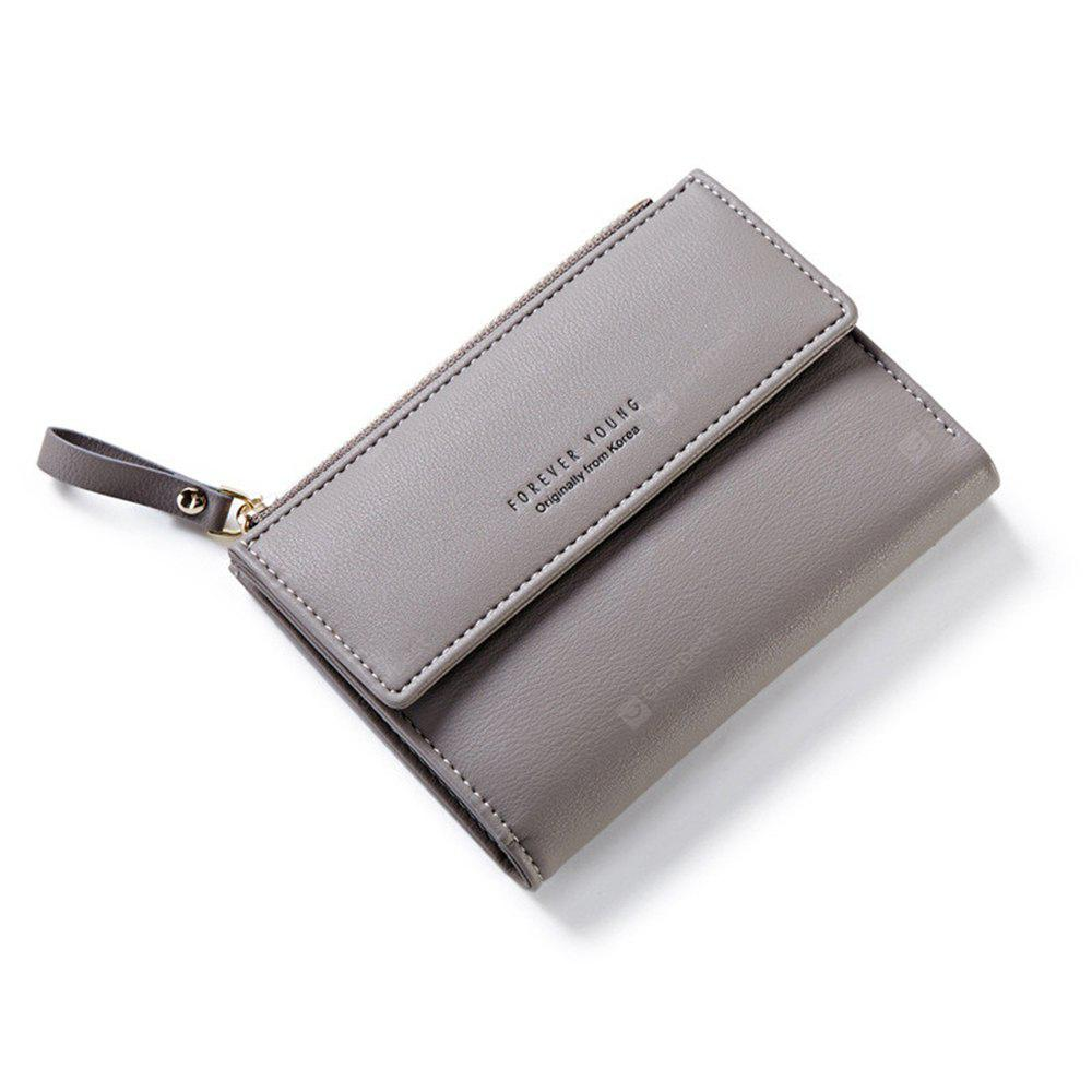 Zipper Short Standard Wallet Fashion PU Leather Solid Coin Card Purse Women Lady Clutch - GRAY