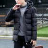 New Fashion Autumn and Winter Thickened Men'S Hooded Cotton-Padded Clothes - BLACK
