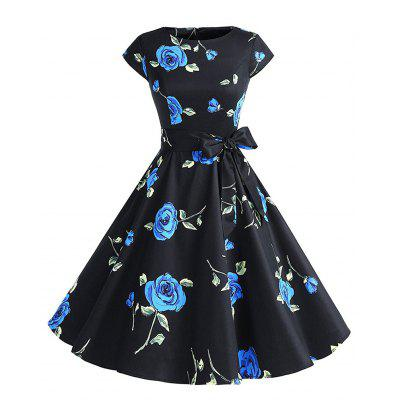 Buy BLUE M Cotton Round Collar Cotta Retro Style Hepburn Dress for $35.35 in GearBest store
