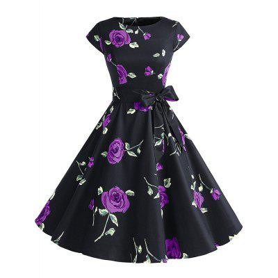 Buy PURPLE L Cotton Round Collar Cotta Retro Style Hepburn Dress for $35.35 in GearBest store