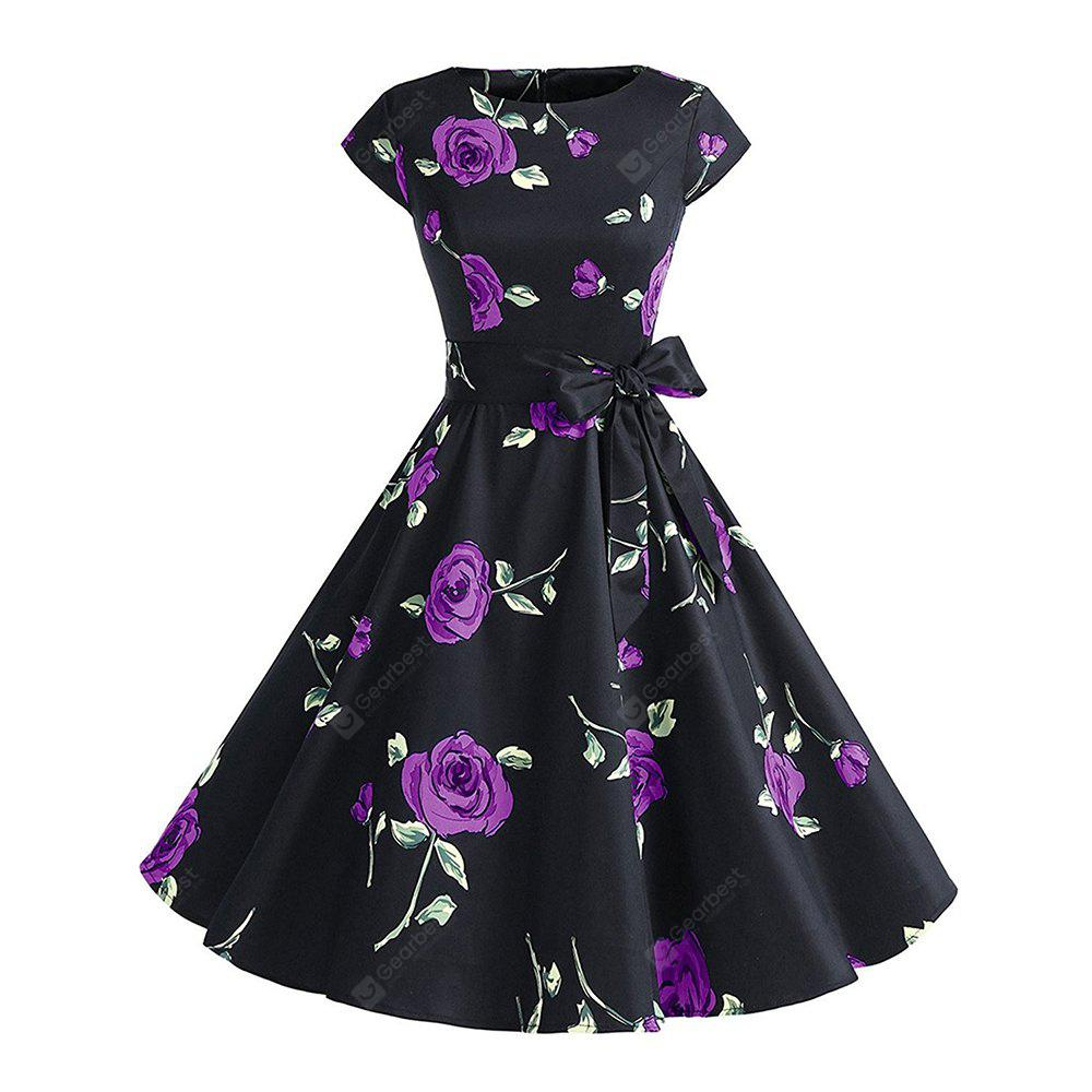 PURPLE M Cotton Round Collar Cotta Retro Style Hepburn Dress