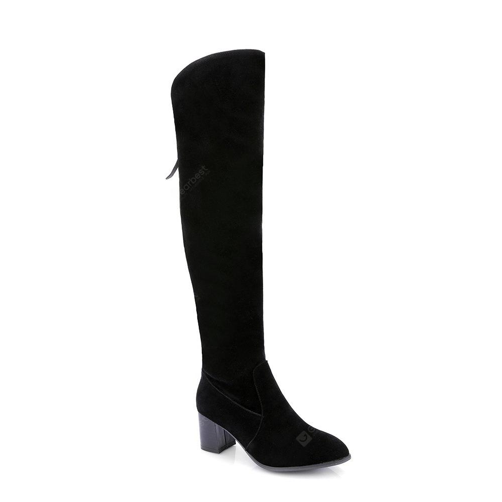 Dull Polish Fashion Over  Knee Boots With Zipper