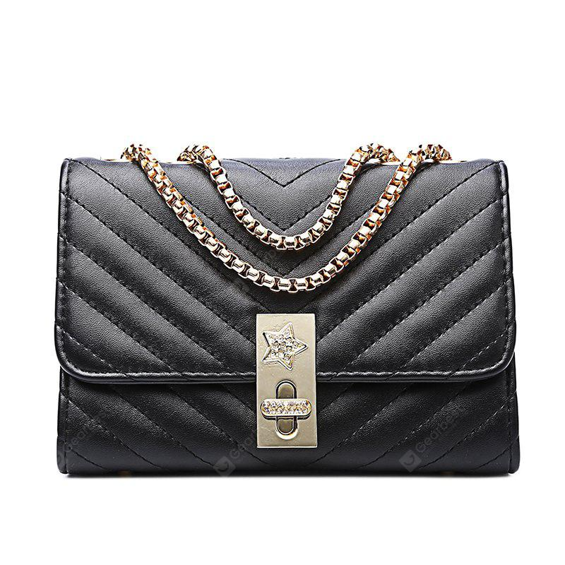Ladies Quilting Mental Lock Chain Shoulder Bag