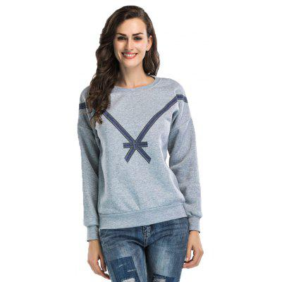 Bow Printing Cashmere Sweatshirt Women with Long Sleeves