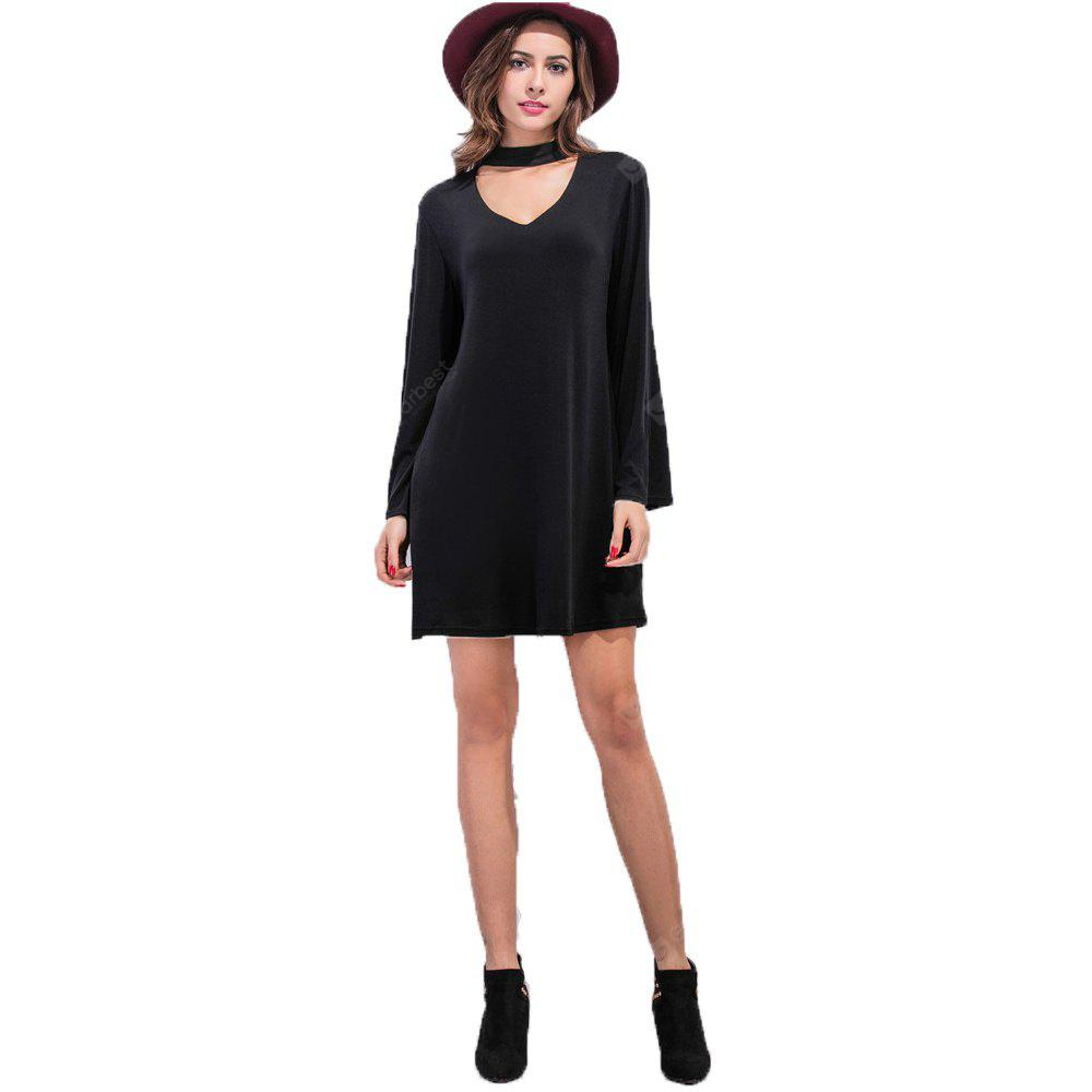 BLACK XL V Collar Long Sleeve Dress