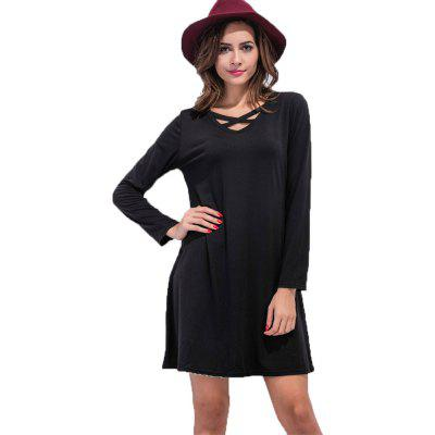 Buy BLACK L Europe and The United States V Collar Cross A Word Dress for $19.42 in GearBest store