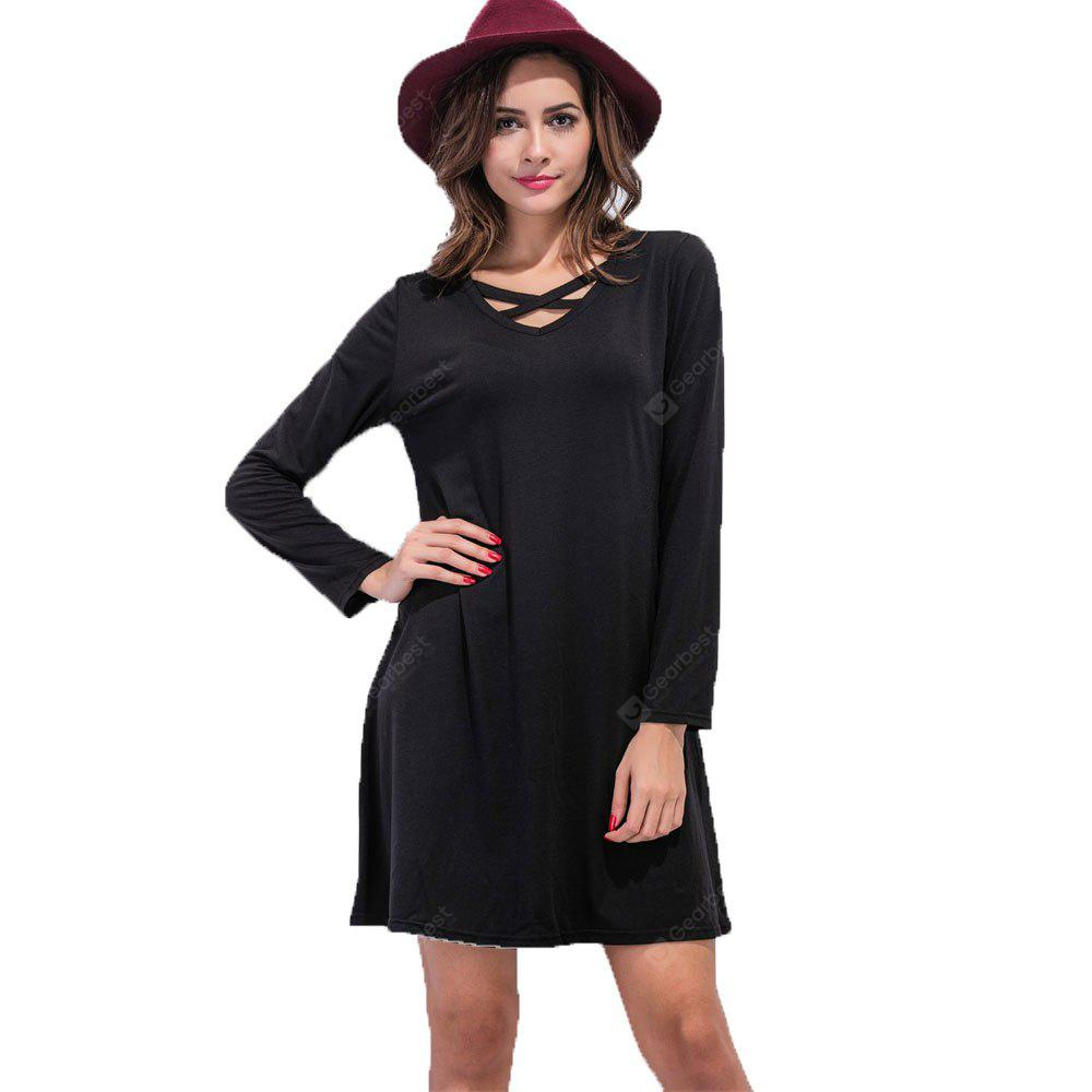 BLACK XL Europe and The United States V Collar Cross A Word Dress