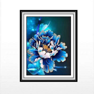 Blue Amazed Peony Printed  Painted Diamond Paintings